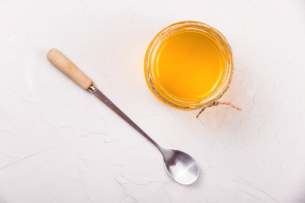 Homemade liquid ghee or clarified butter in