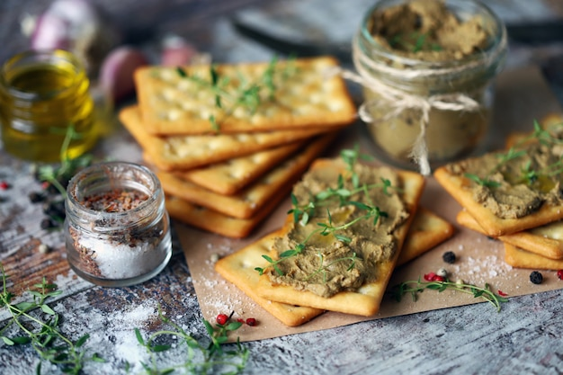 Homemade liver pate. delicious homemade pate with spices and herbs. keto diet. healthy food. selective focus.