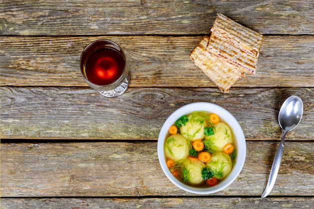 Homemade matzo ball dumplings with parsley for passover