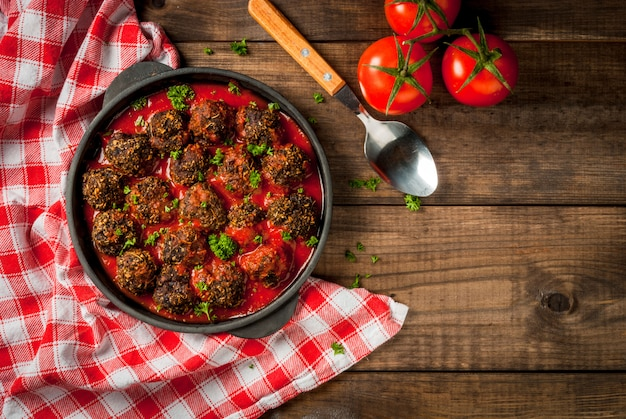 Homemade  minced beef meatballs