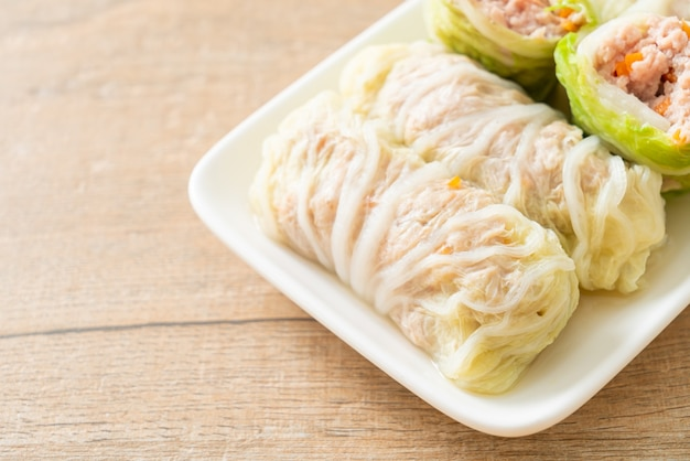 Homemade minced pork wrapped in chinese cabbage or steamed cabbage stuff mince pork