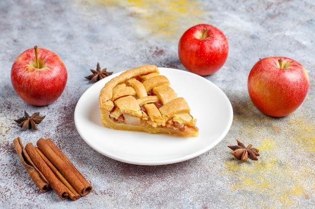 Homemade mini apple pie with cinnamon.