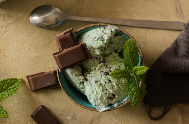 Homemade mint and chocolate ice cream