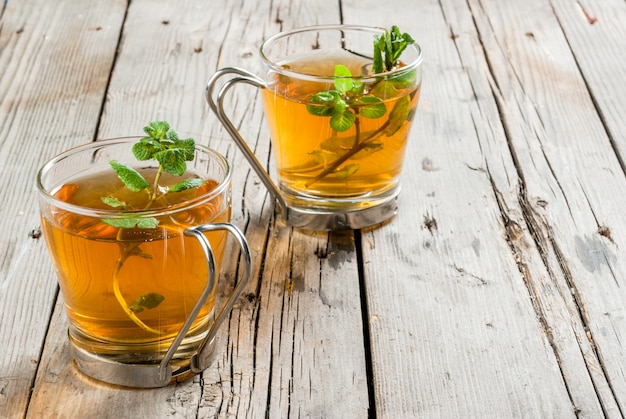 Homemade mint tea