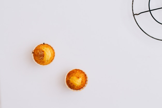 Homemade muffins on a white background