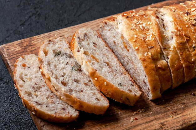 Homemade multigrain bread with flax and sesame seeds