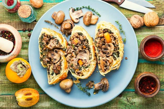 Домашний грибной пирог с хурмой. грибы веллингтон. сердечный пирог