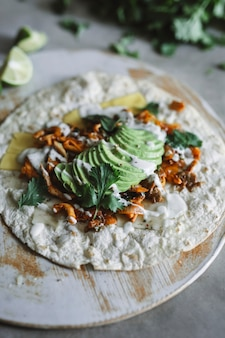 Homemade mushroom quesadilla food photography recipe idea