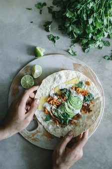 Homemade mushroom quesadilla food photography recipe idea