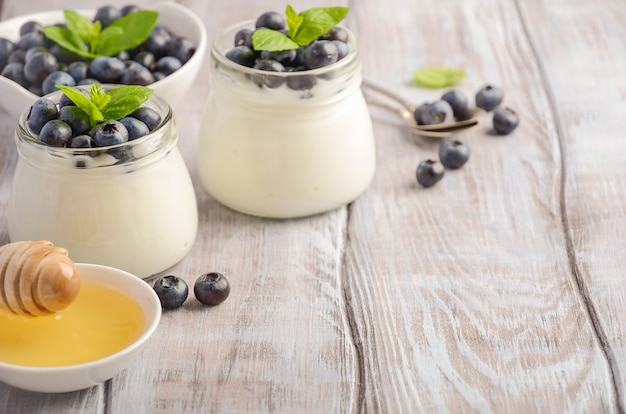 Homemade natural yogurt with blueberries and mint.