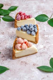 냉동 딸기와 민트, 건강한 유기농 디저트, 평면도와 홈 메이드 뉴욕 치즈 케이크
