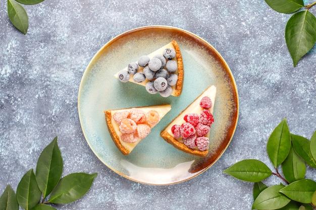 냉동 딸기와 민트, 건강 한 유기농 디저트와 함께 만든 뉴욕 치즈 케이크