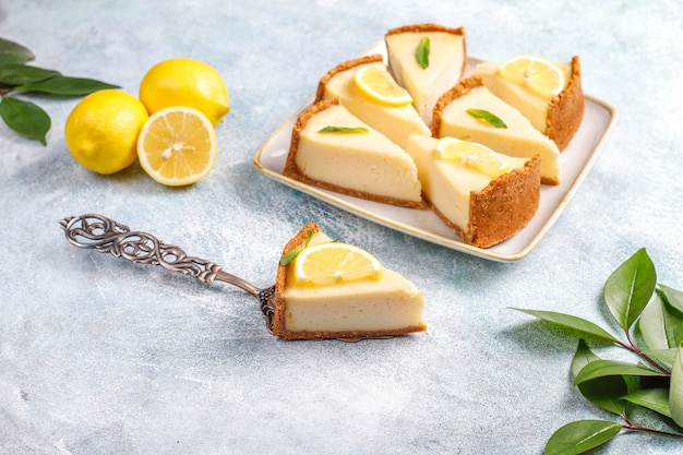 Homemade newyork cheesecake with lemon and mint,healthy organic  dessert,top view