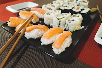 Homemade nigiri, california rolls and maki