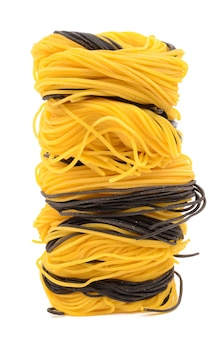 Homemade noodles yellow and black