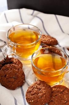 Домашнее овсяное печенье на закуску крупным планом