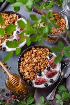 Homemade oat granola with yogurt and berries