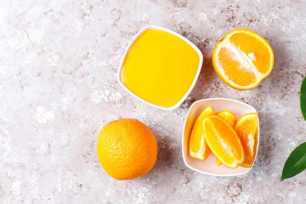 ジューシーなオレンジと自家製オレンジ豆腐。