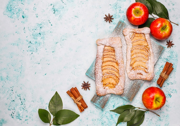 Homemade organic apple puff pastry pies with apples  ready to eat