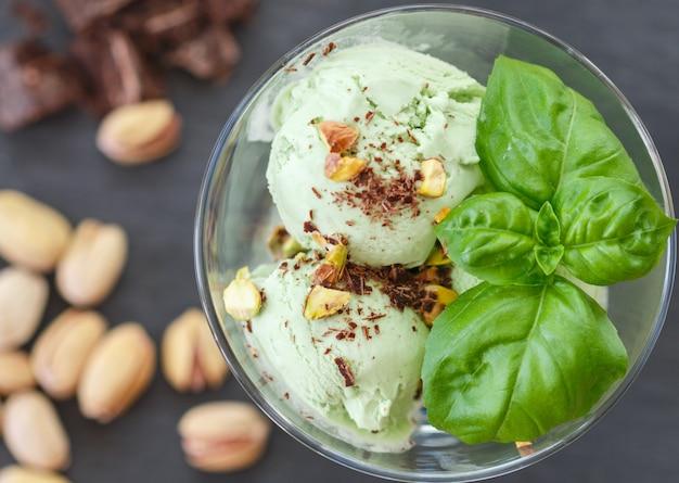 Homemade organic green ice cream - basil, pistachio, green tea, mint