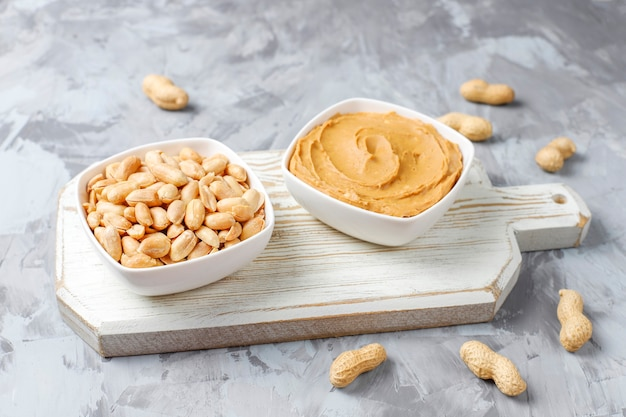 Homemade organic peanut butter with peanuts