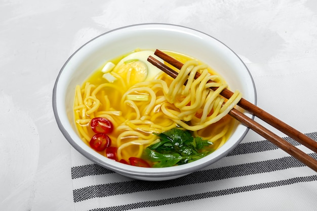 Homemade oriental ramen noodles