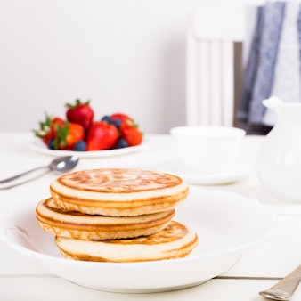 Homemade pancakes with berries.