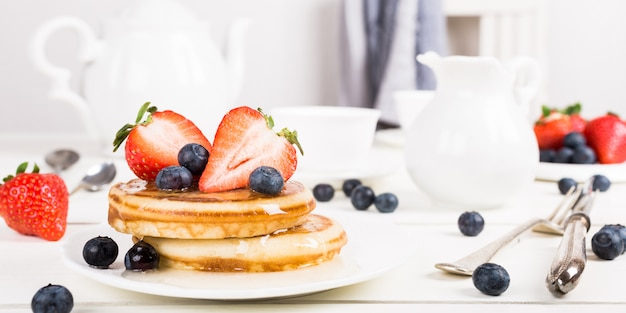 Homemade pancakes with berries