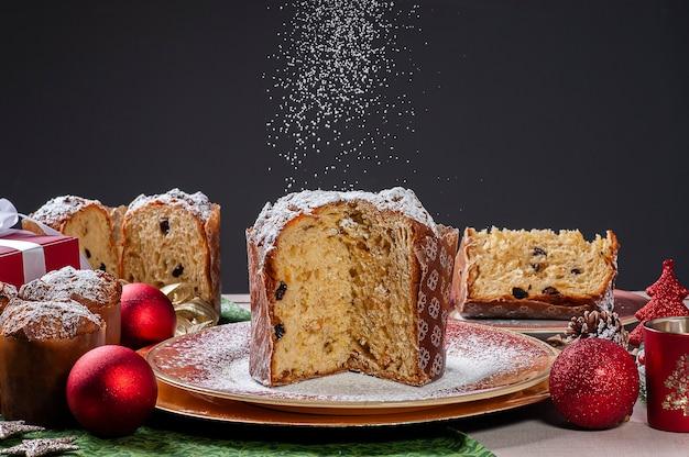 Homemade panettone traditional christmas dessert