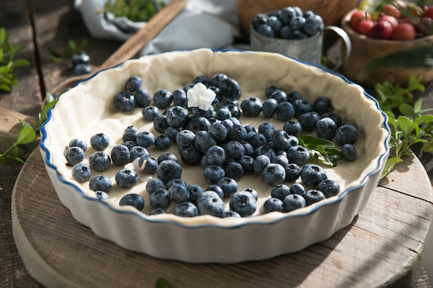 Homemade pastry blueberry  pie pies bakery products on dark wooden kitchen table  traditional desser