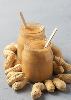 Homemade peanut butter in glass jars