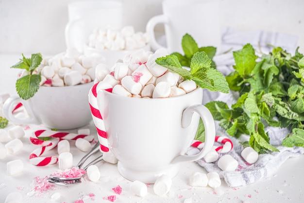 민트, 마시멜로, 사탕 수수로 만든 수제 페퍼민트 핫 초콜릿
