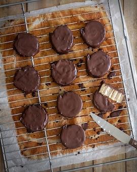 Homemade phoskitos. chocolate cupcakes stuffed with mascarpone.
