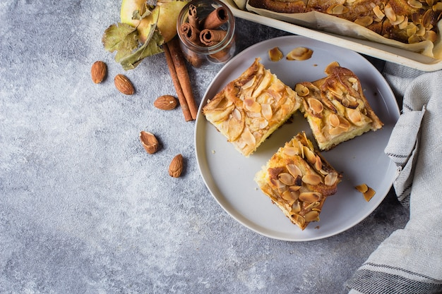 Homemade pies with apples, almond flakes. norwegian biscuit pie on stone concrete table background