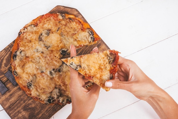 Homemade pizza on a white background