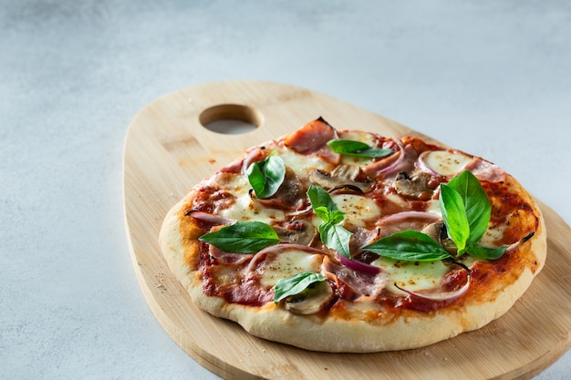 Homemade pizza with raw dough