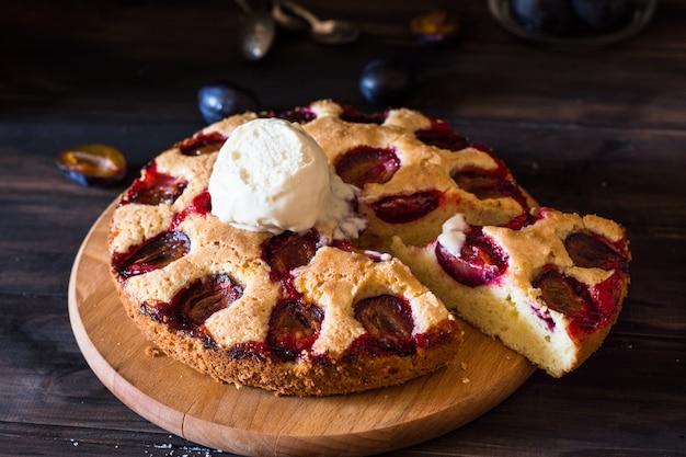 Homemade plum pie. plum tart. old fashion cuisine. plum bakery.  winter pie. new york pie.