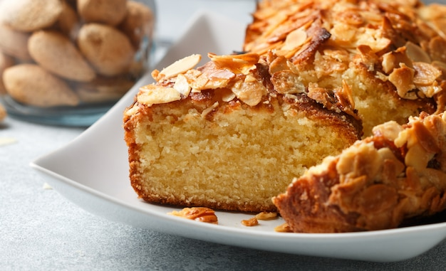 Homemade pound cake with almonds, delicious dessert  (pie)