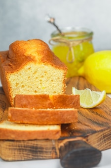 Homemade pound cake with lemon and jam, traditional treat for tea,