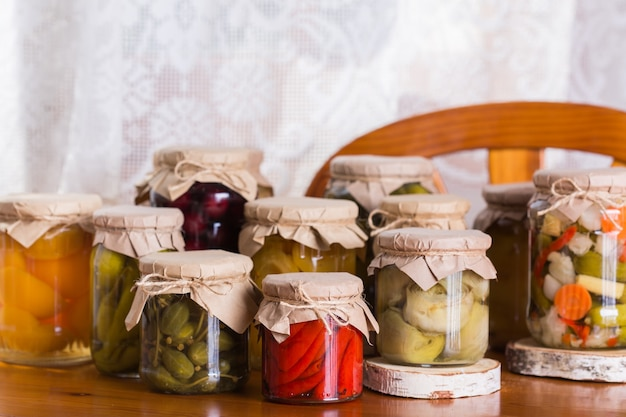 Homemade preserved fermented food pickled marinated vegetables fruit compote