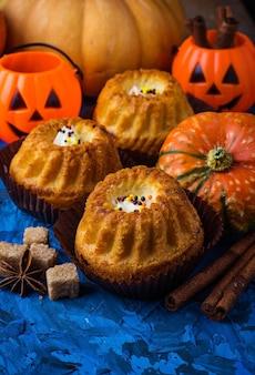 Homemade pumpkin spice cupcakes. selective focus