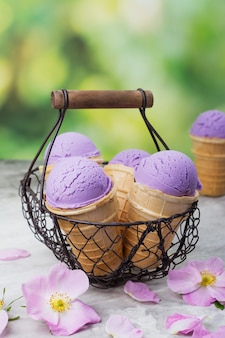 Homemade purple ube ice cream