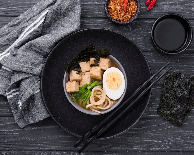 Homemade ramen soup food with half of egg