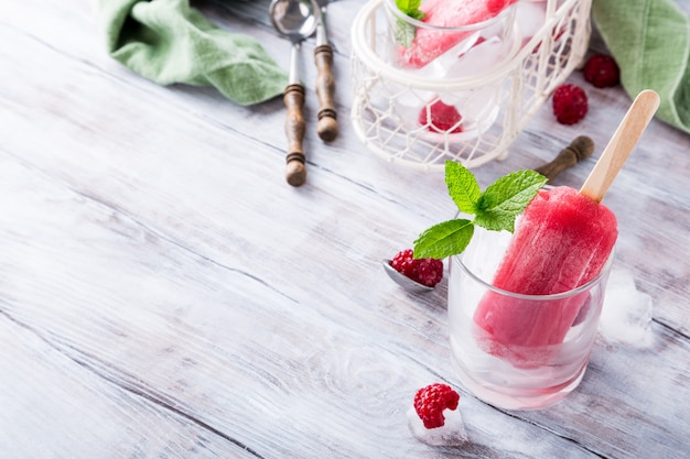 Homemade raspberry popsicles