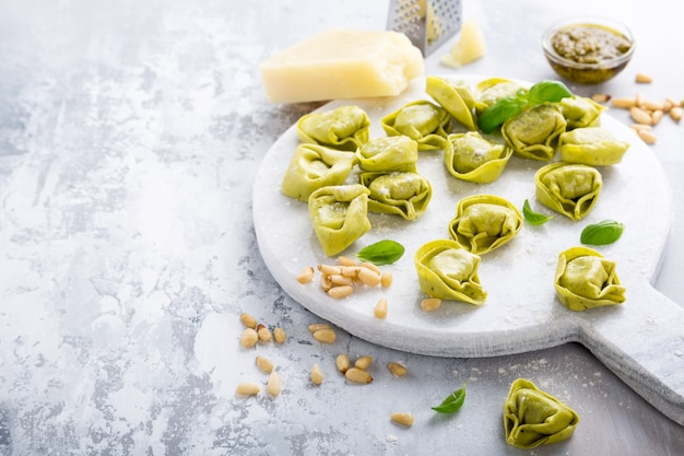 Homemade raw italian tortelloni