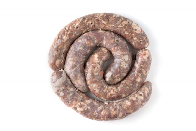 Homemade raw sausages isolated on a white background