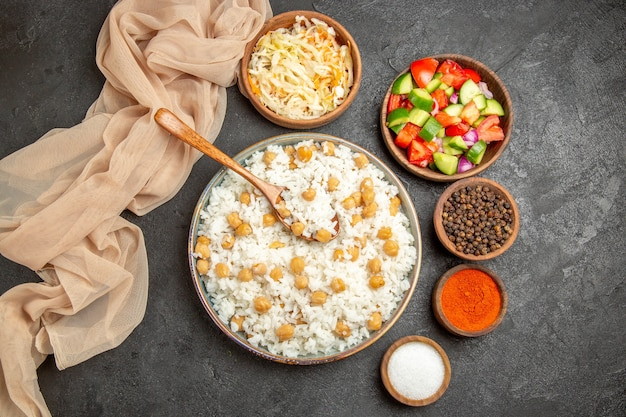 Homemade rice dish and healthy salad