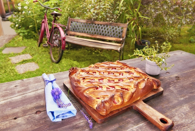 Homemade russian pie served in the garden