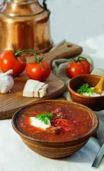 Homemade russian, ukrainian and polish national soup