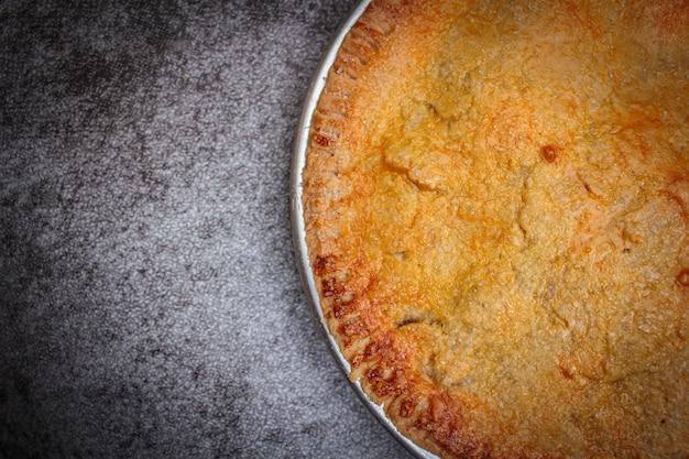 Homemade rustic apple pie.